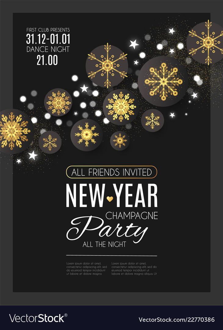 happy new year party poster template with gold vector image