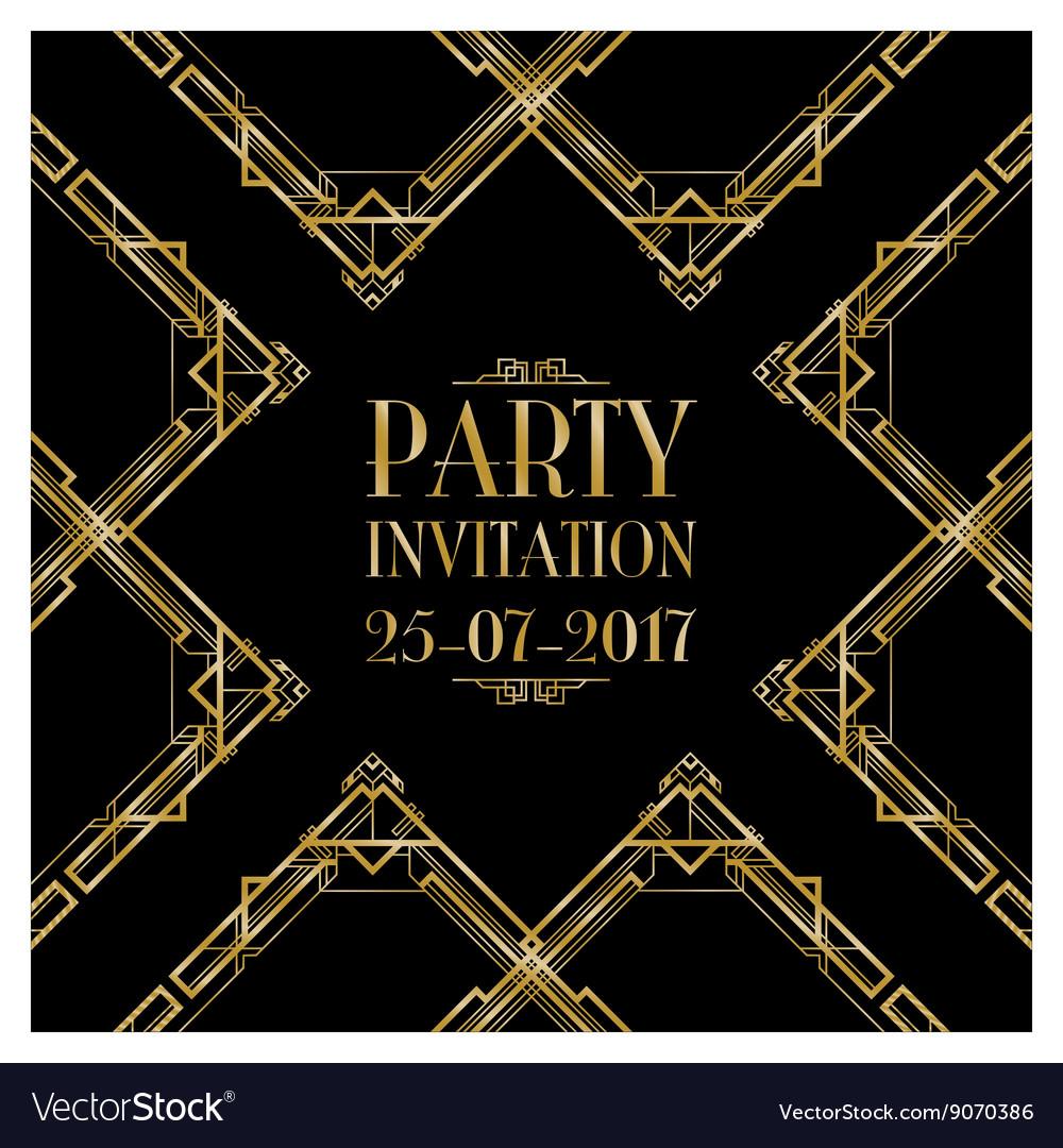 Party invitation art deco Royalty Free Vector Image