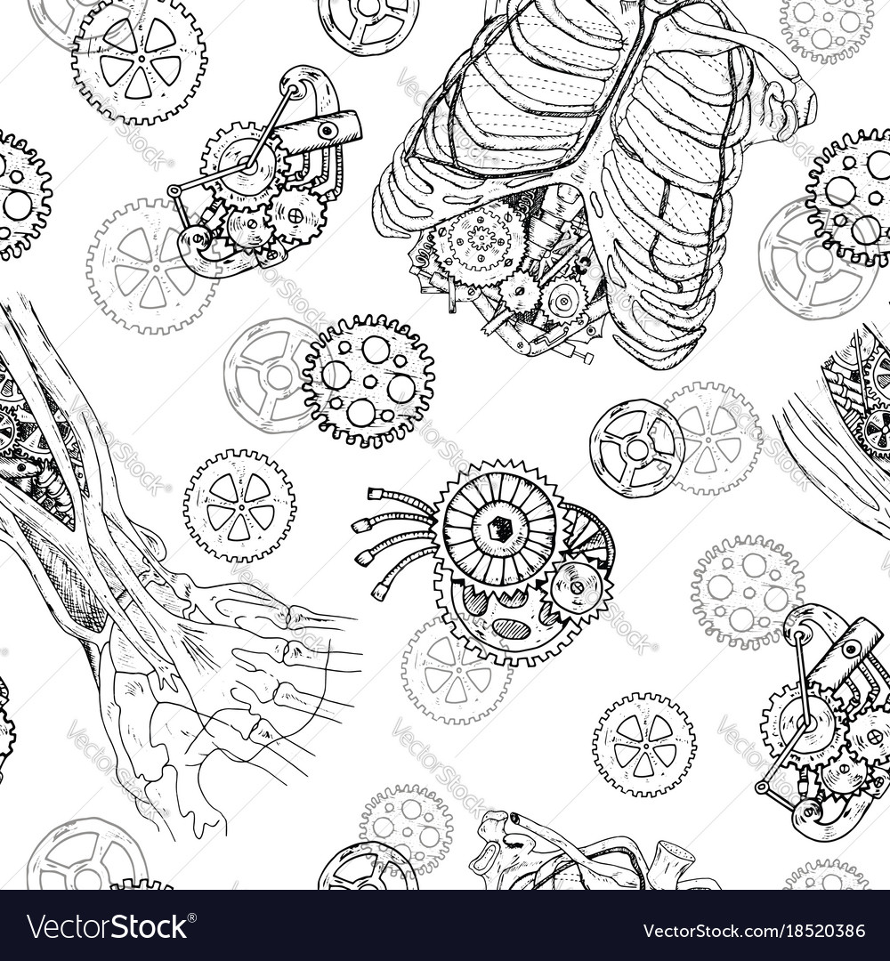 Seamless pattern with demon hands chest cogs