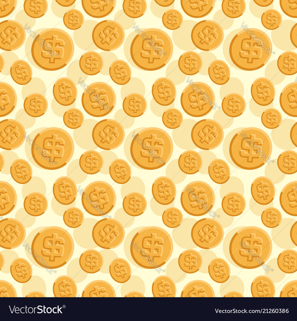 Seamless texture with golden coins flat style
