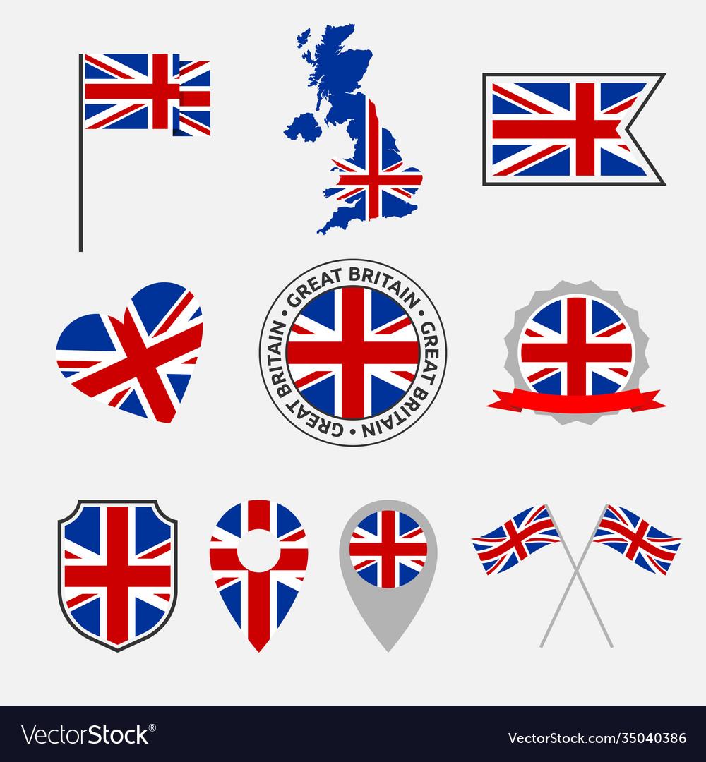 United kingdom flag icons set national symbol of