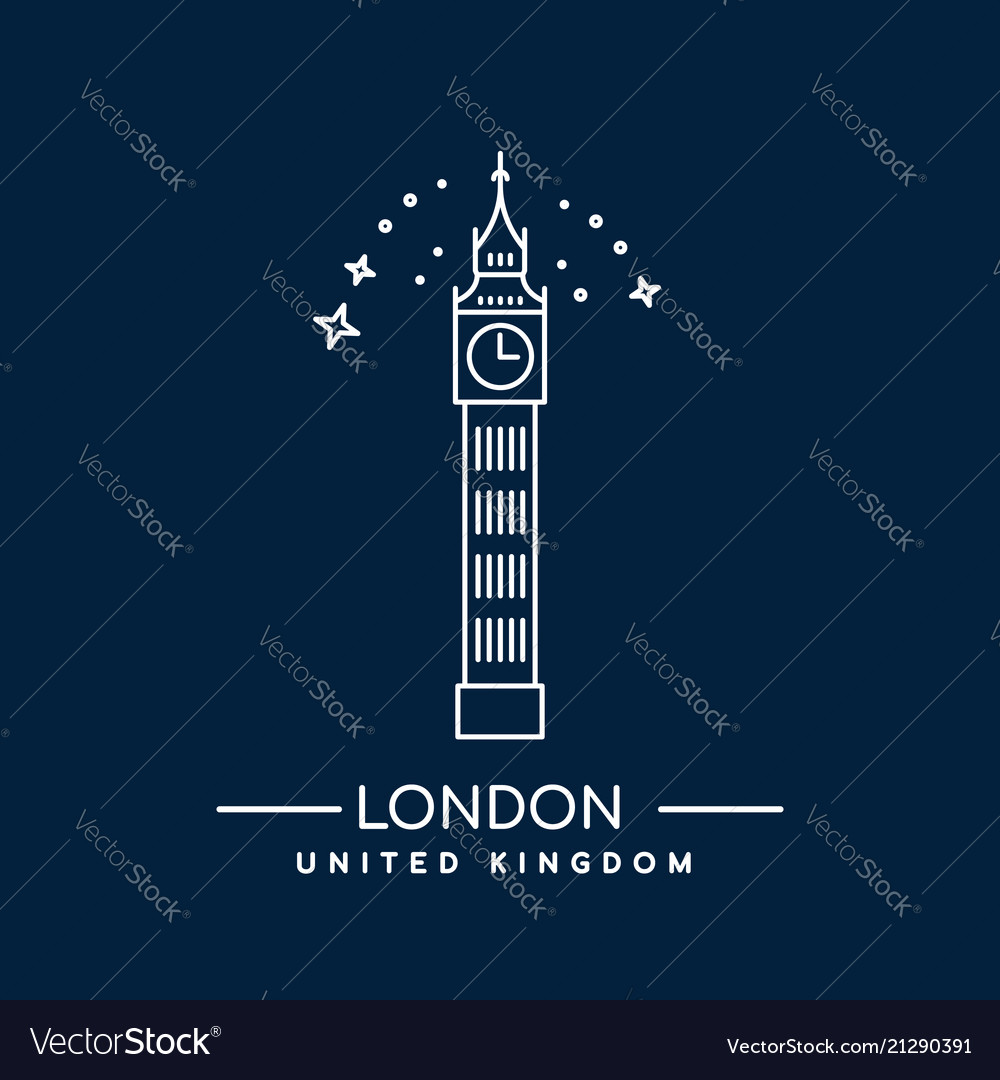 Big ben tower london line art