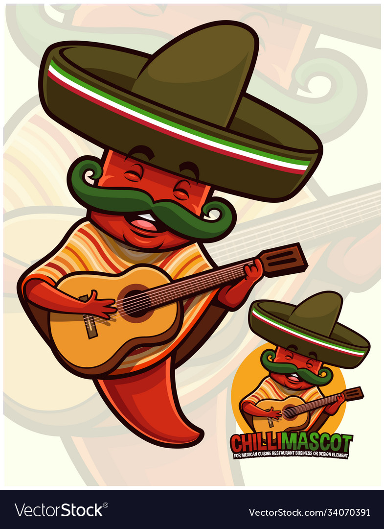Chili Pepper Mascot Wearing Mexican Outfit Vector Image