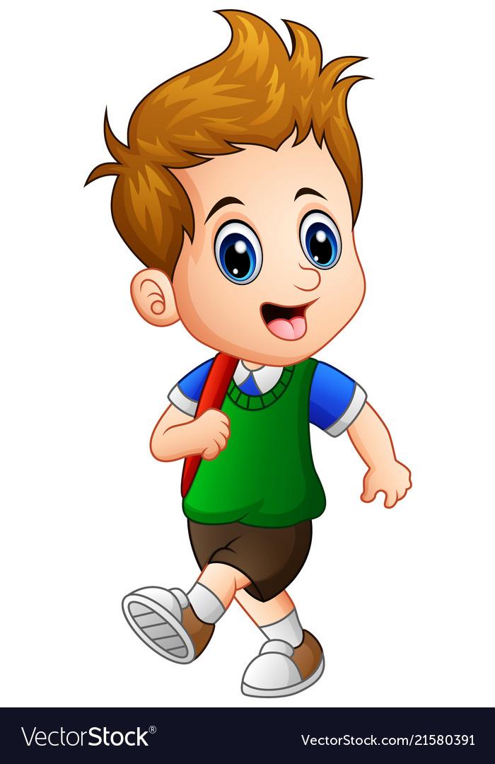 Cute little boy go to school Royalty Free Vector Image