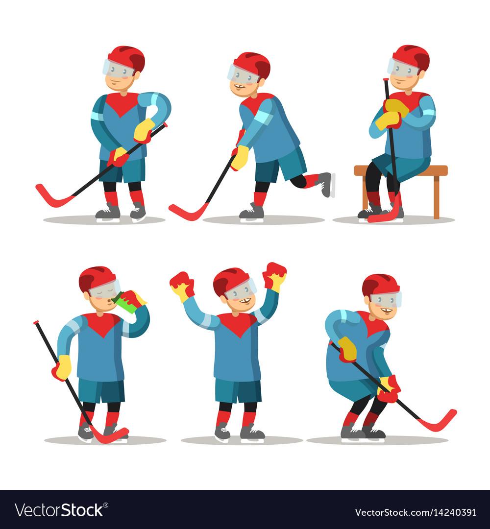 Hockey player cartoon winter sports