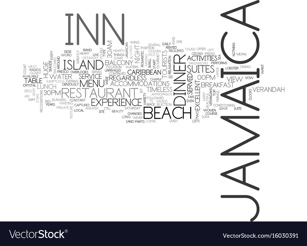 Jamaica inn text background word cloud concept vector image