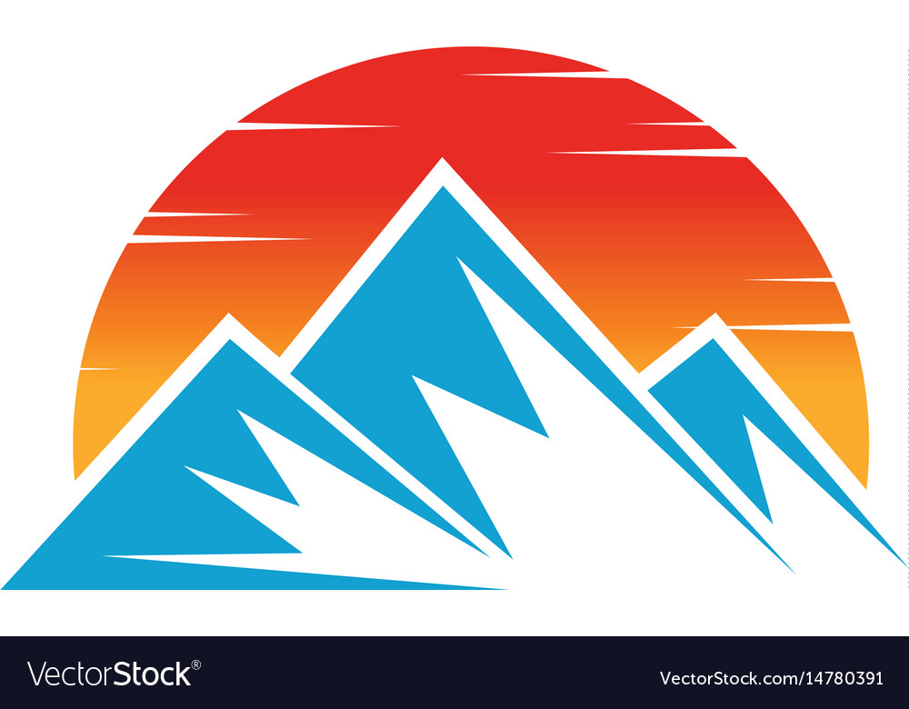 Mountain icon nature sun logo image