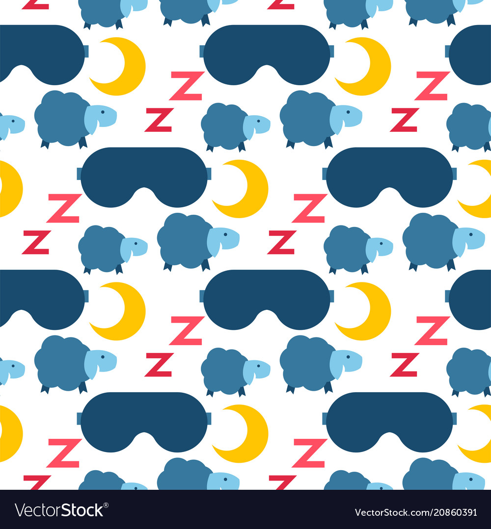 Sleep icons seamless pattern