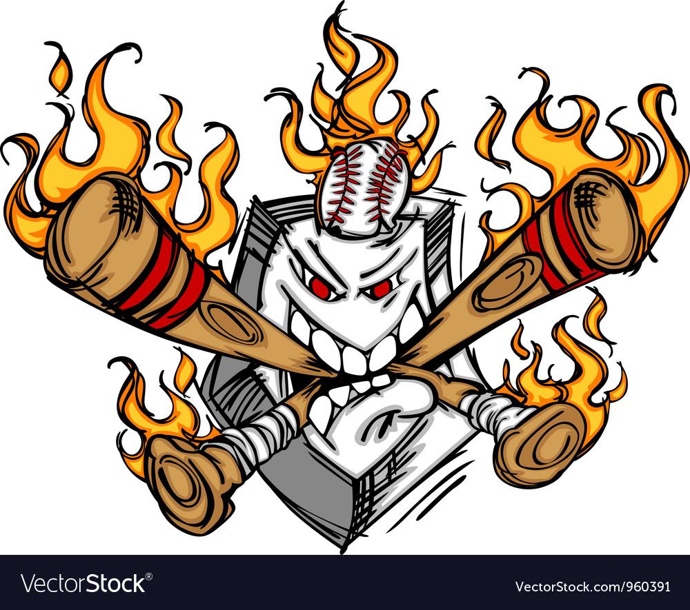 Softball Baseball Plate and Bats Flaming Cartoon