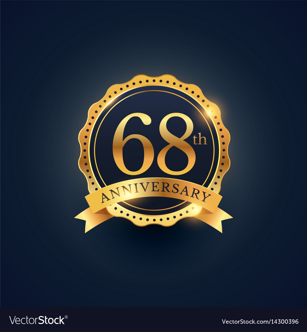 68th anniversary celebration badge label in vector image