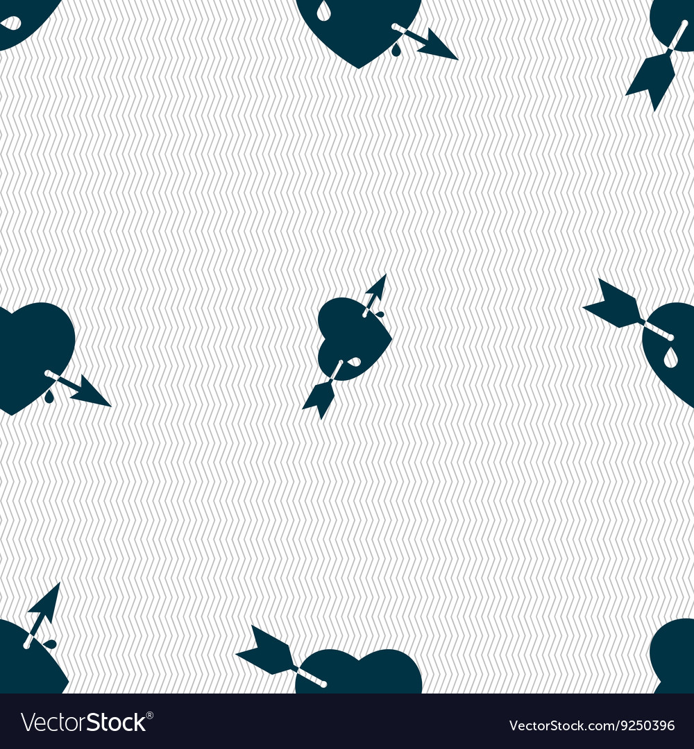 Arrow heart icon sign Seamless pattern with