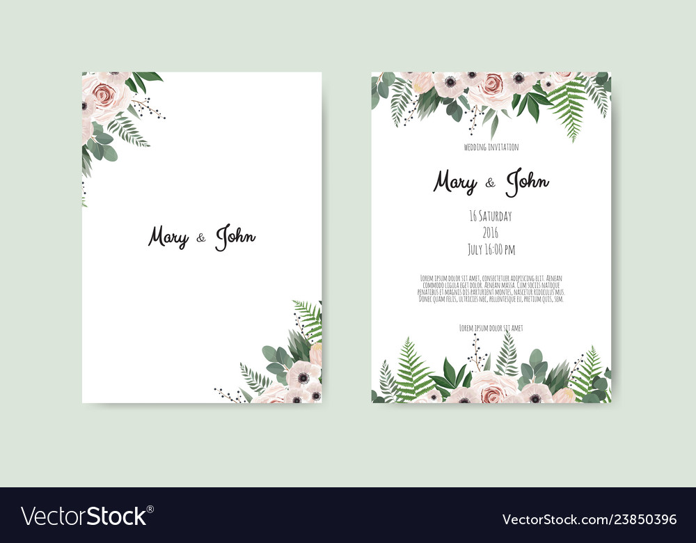 Card with flower rose leaves wedding ornament