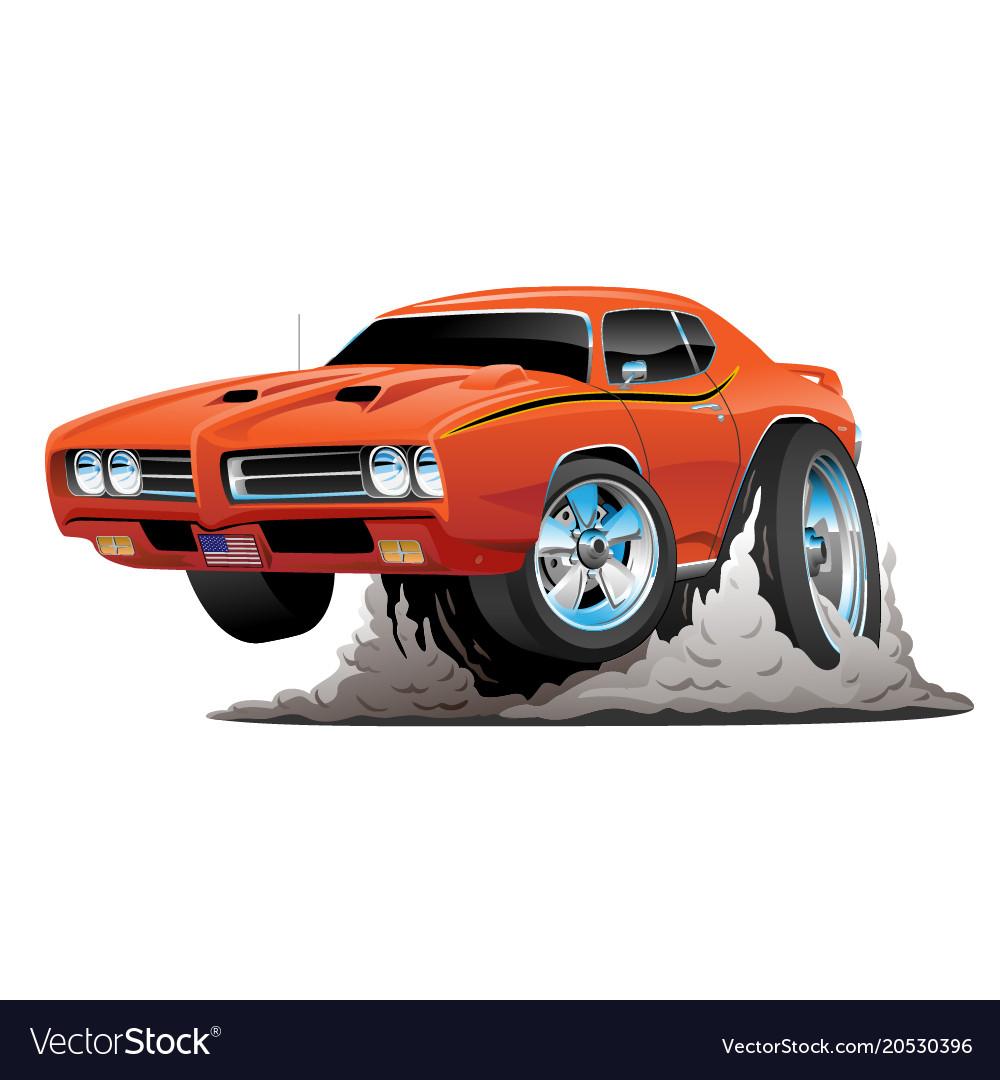 Classic American Muscle Car Cartoon Royalty Free Vector