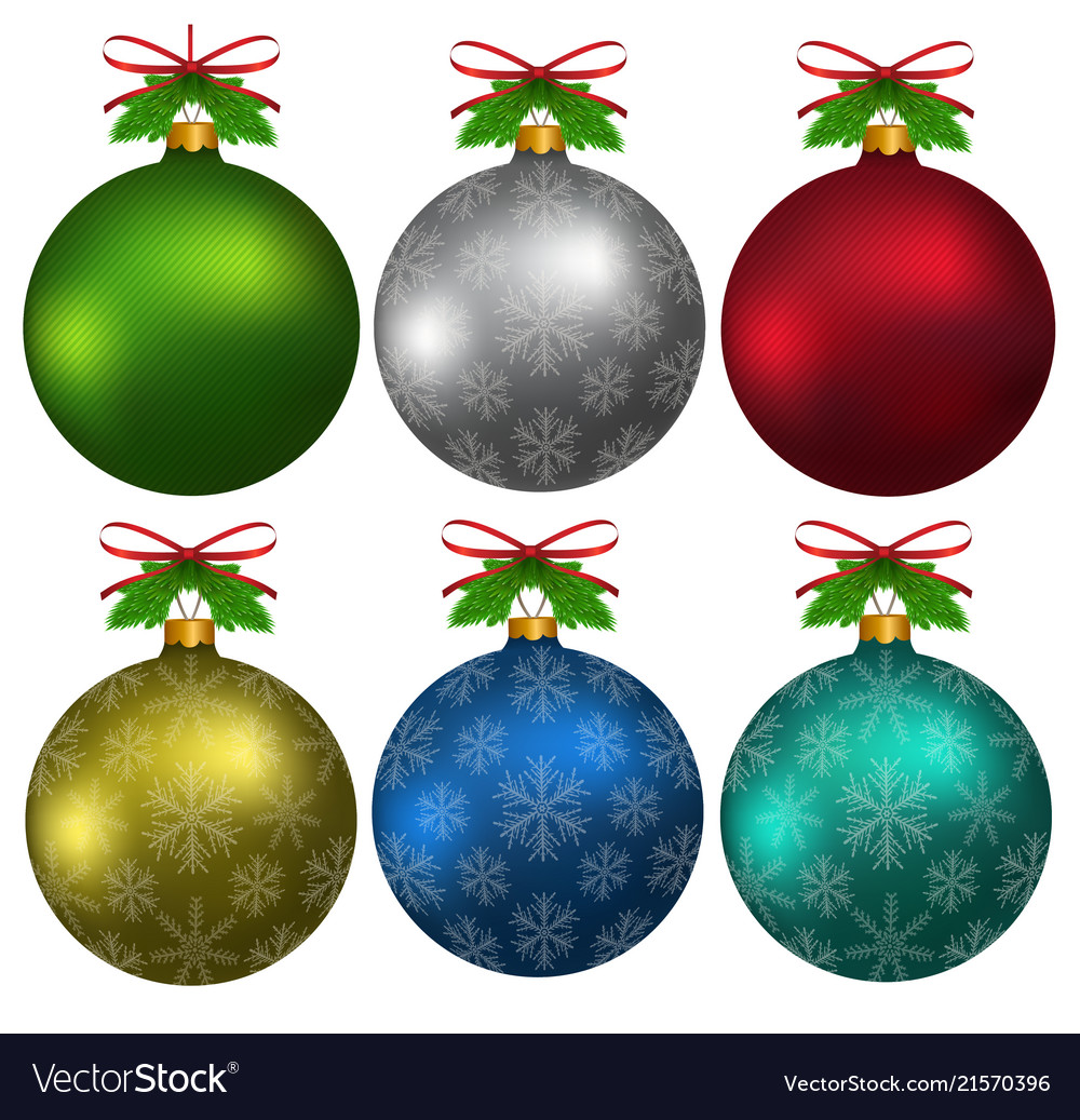 Colorful christmas balls with snowflakes hanging