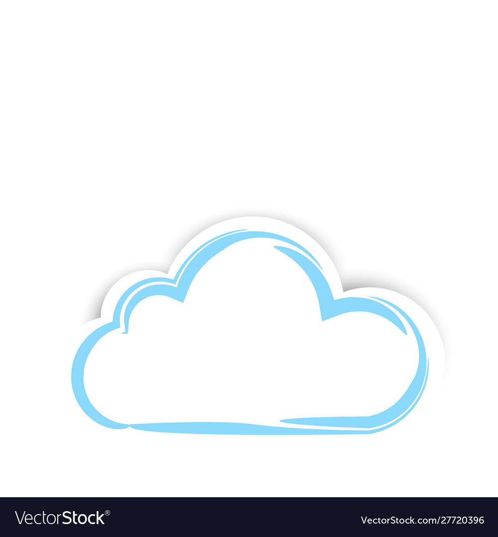 Cute sticker clouds with shadow on white
