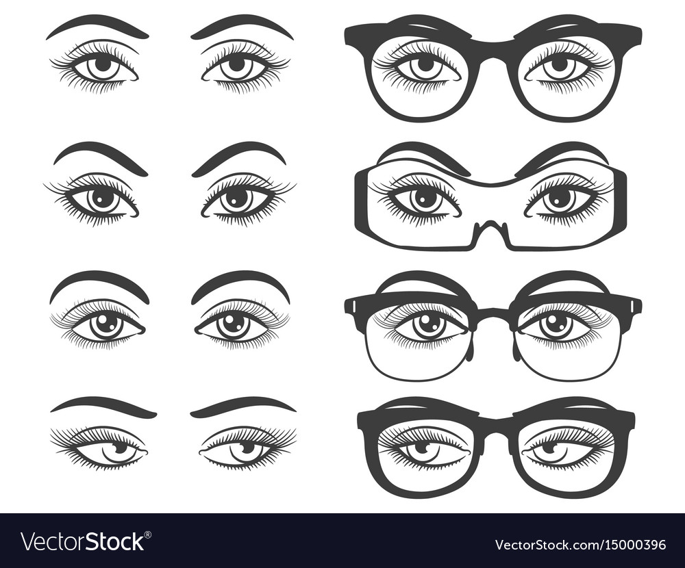 Female eyes and eyes with glasses vector image