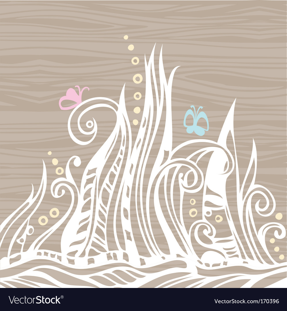 Floral doodles on wood vector image