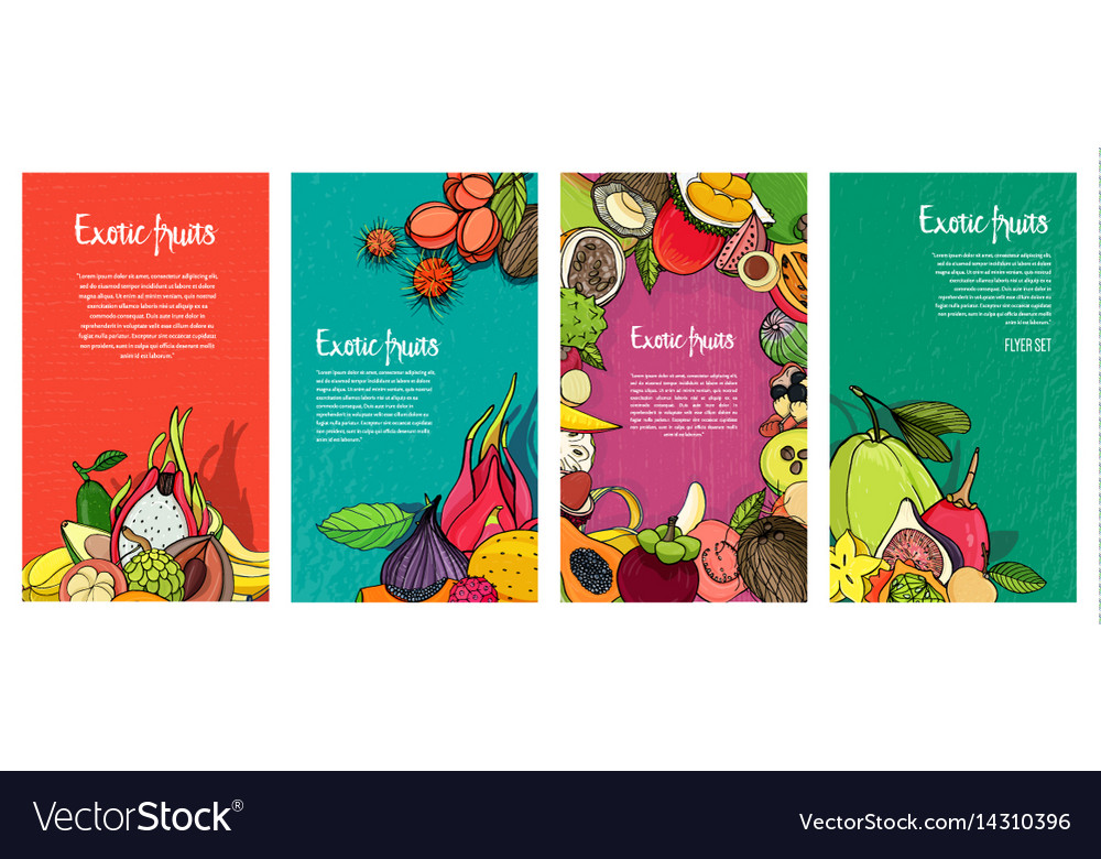 Flyer collection with exotic tropical fruits