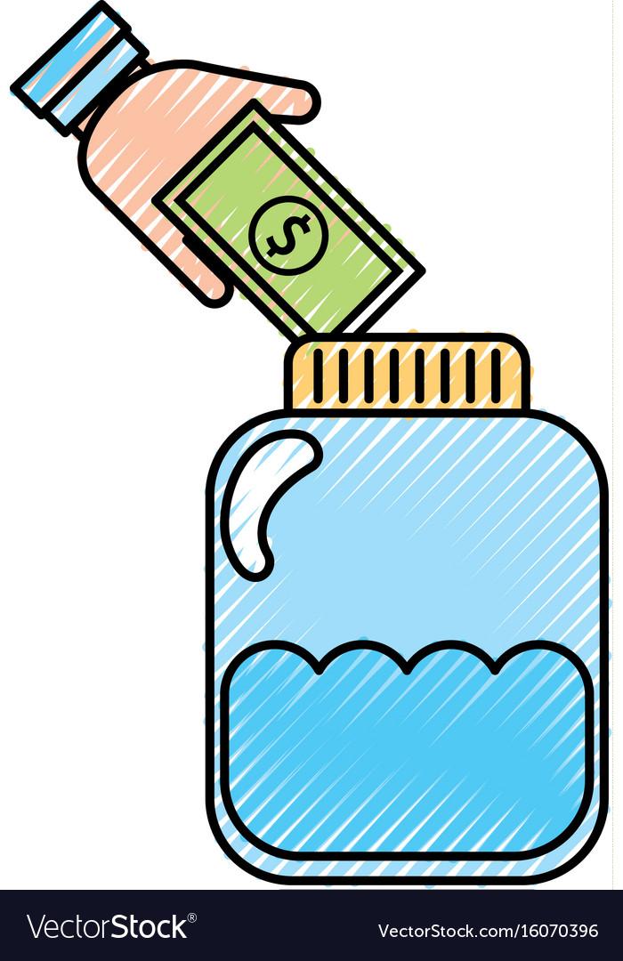 Mason jar bottle with bills
