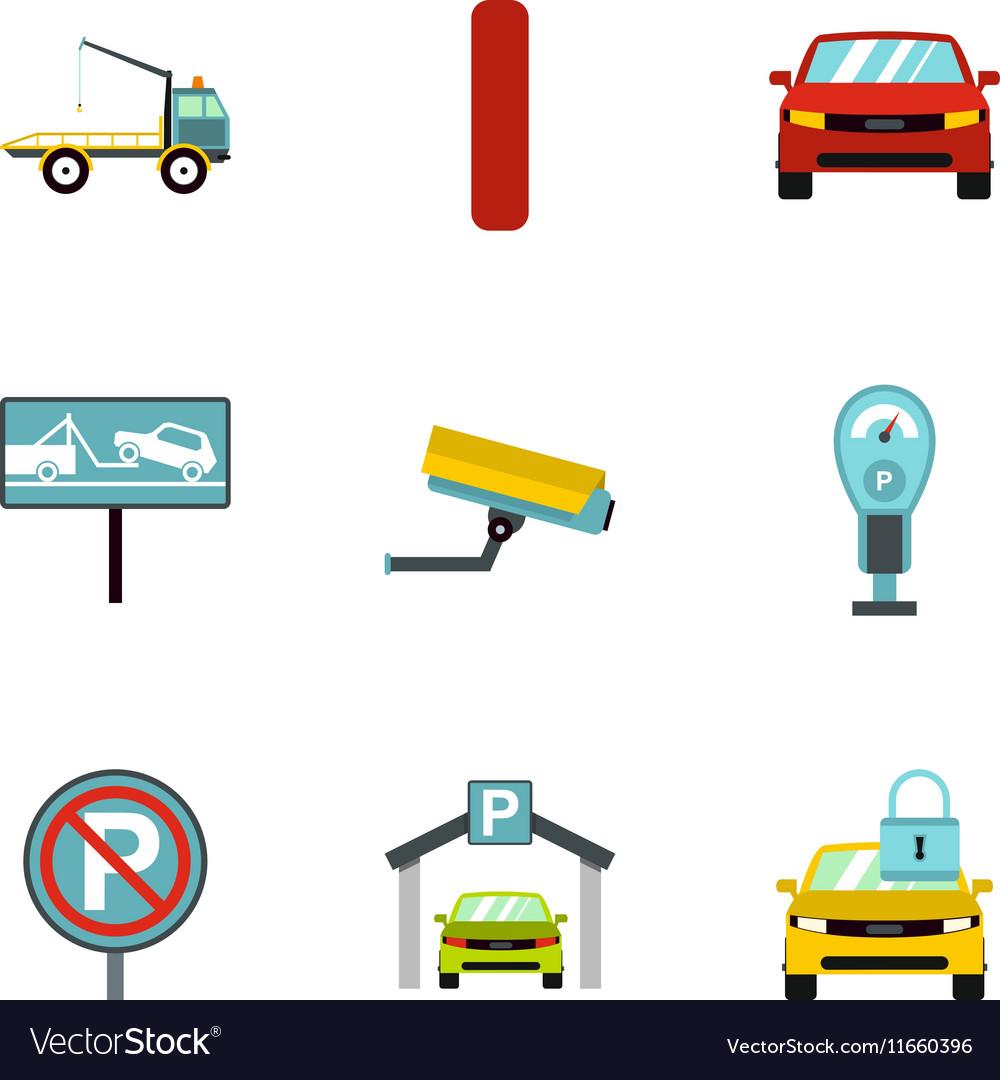 Parking transport icons set flat style