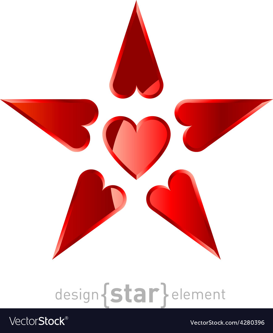 Red Star made by hearts