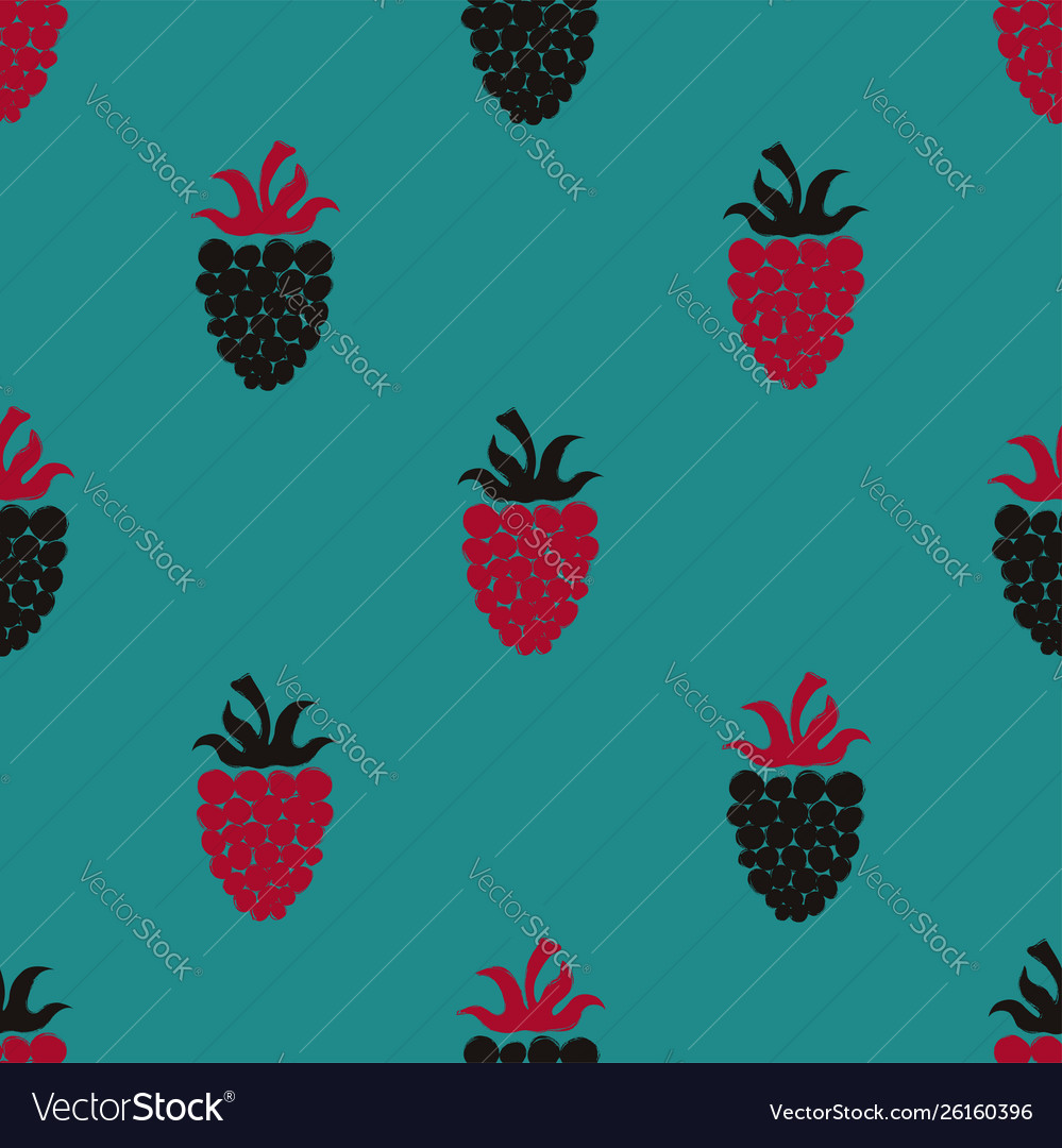 Seamless pattern with blackberry and raspberry