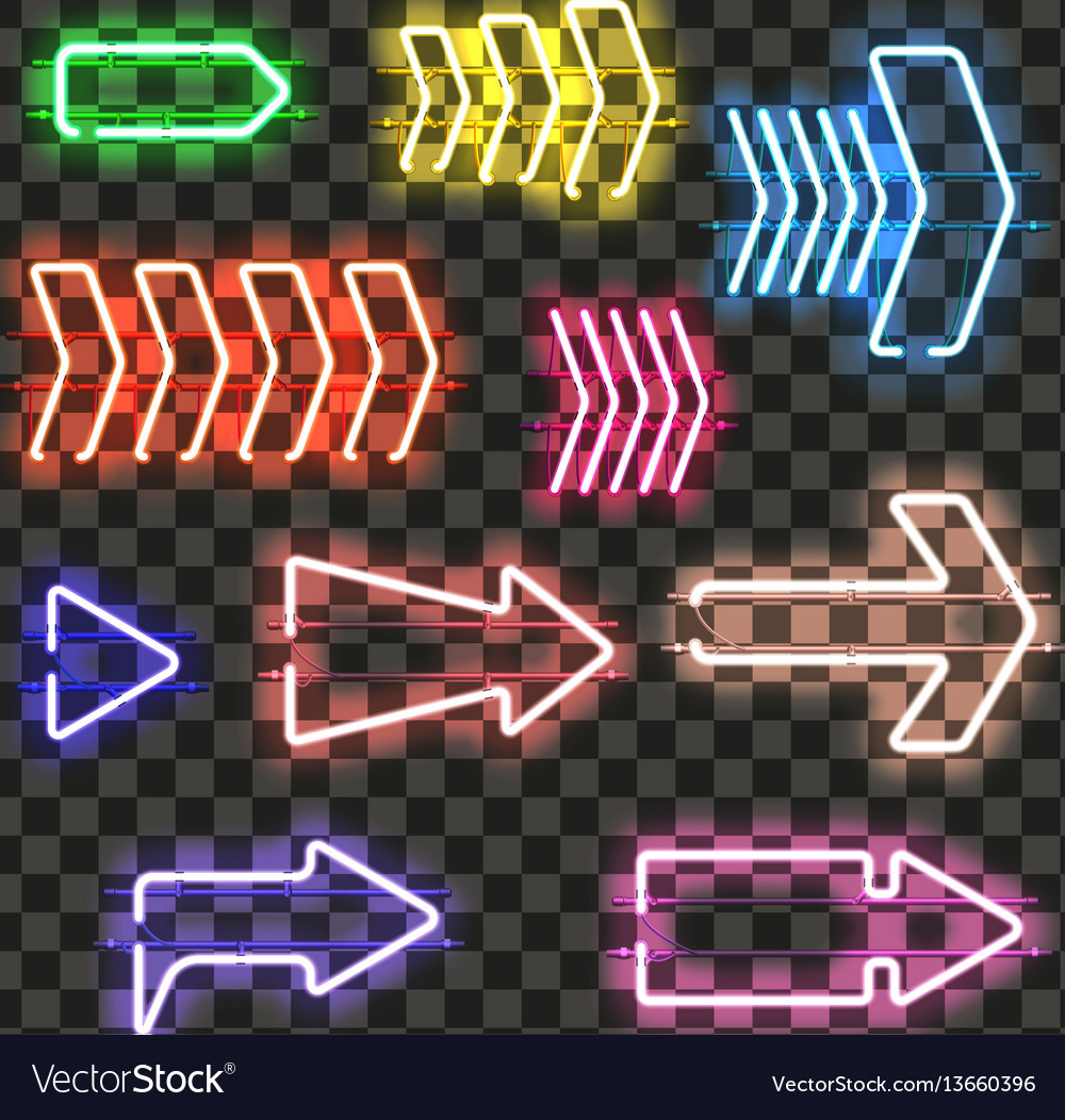 Set of glowing neon arrows with different colors