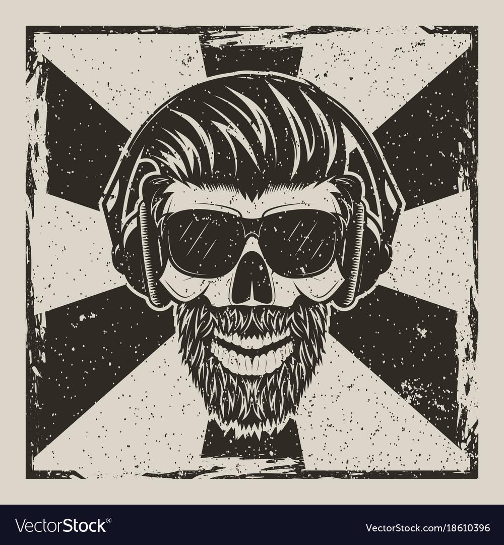 Skull music hipster vintage grunge design