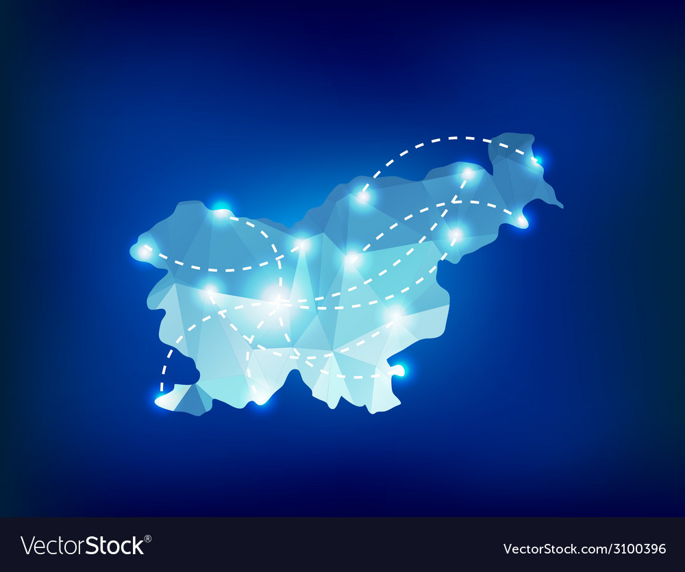 Slovenia country map polygonal with spot lights