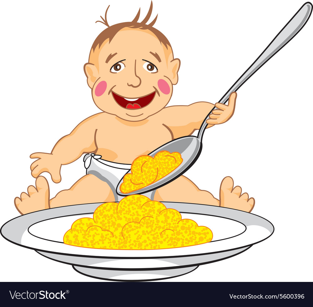 Smiling baby which eats with a spoon porridge