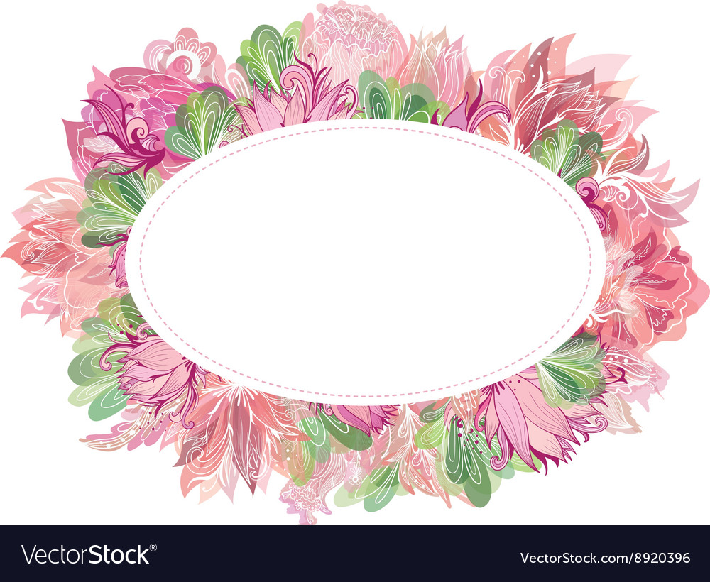 Soft Oval Floral Frame Royalty Free Vector Image