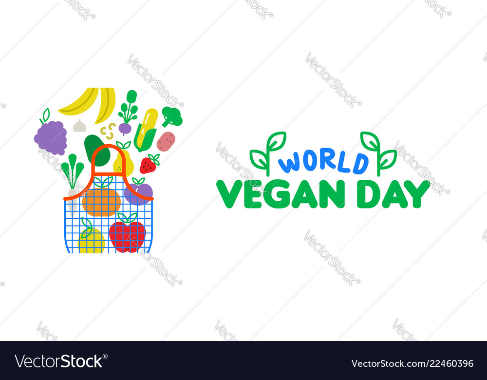 Vegan day web banner of vegetable and fruit icons
