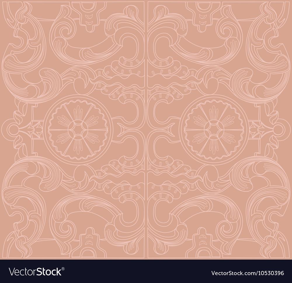 Vintage baroque damask floral ornament vector image