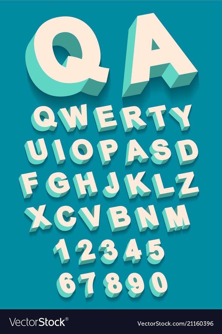 Vintage type alphabet with 3d threedimentional