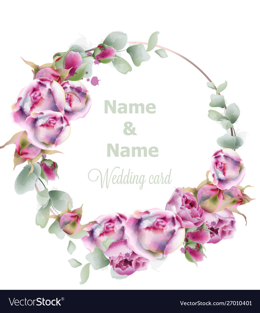 Blooming roses wedding wreath watercolor birthday