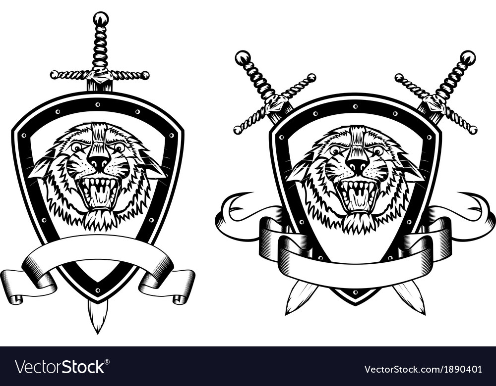 Board and sword with tiger vector image