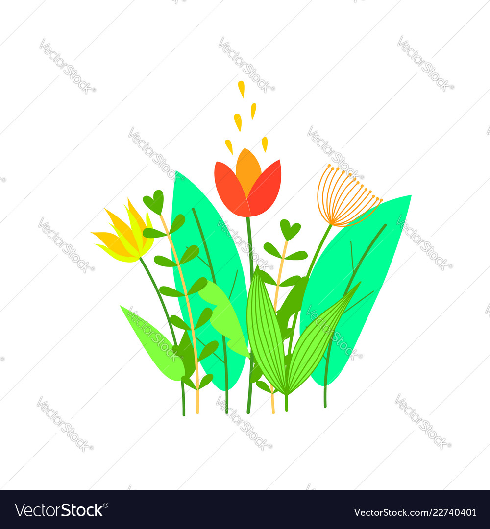 Cute flowers leaves and grass in flat style