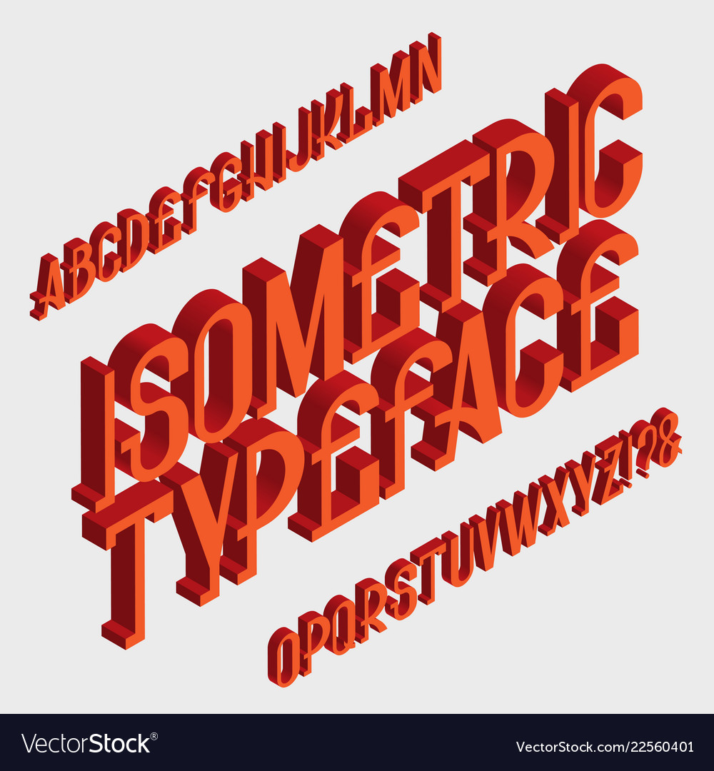 Isometric typeface isolated english 3d alphabet vector image