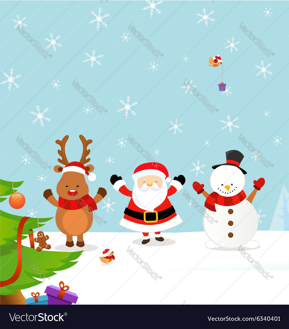 Santa with Reindeer and Snowman vector image
