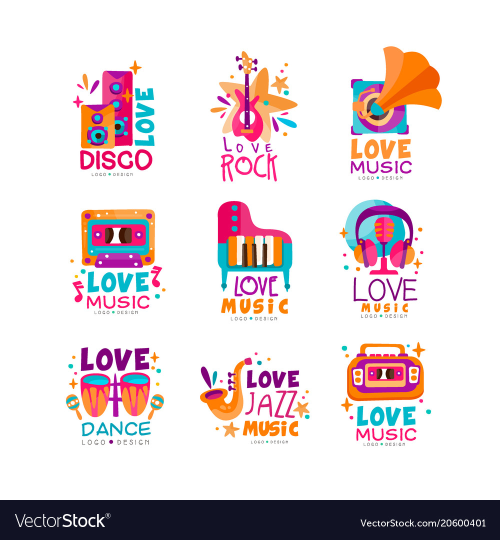 Set of bright music logos with musical instruments
