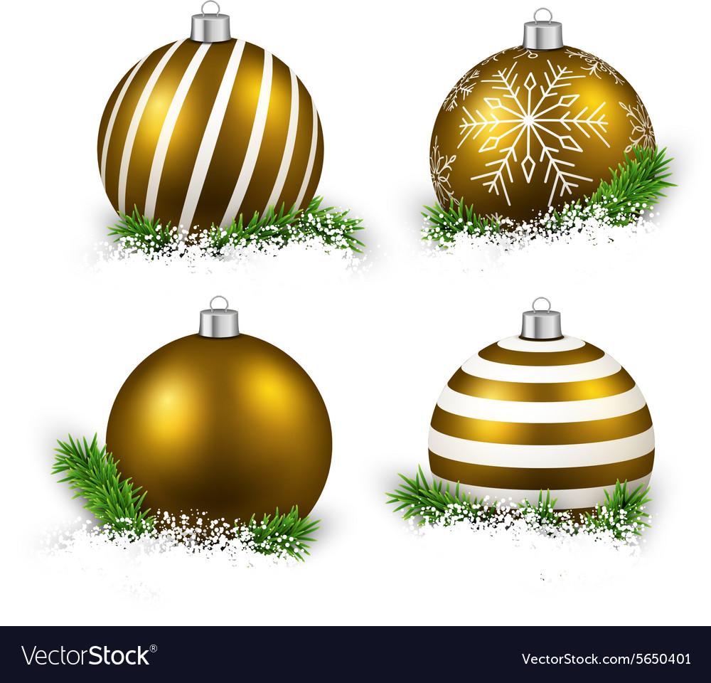 Set of realistic golden christmas balls vector image