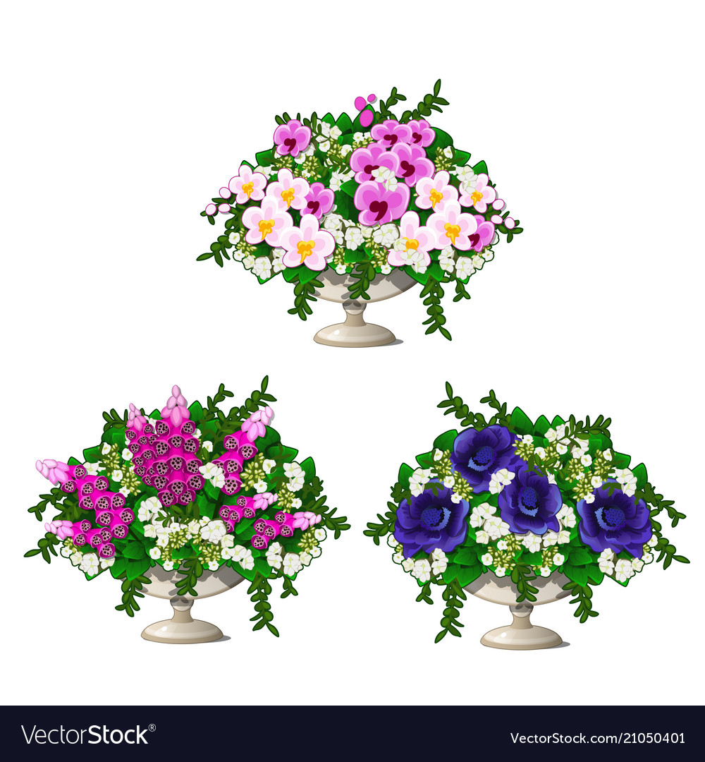 Set Vintage Marble Vase With Flowers Isolated Vector Image