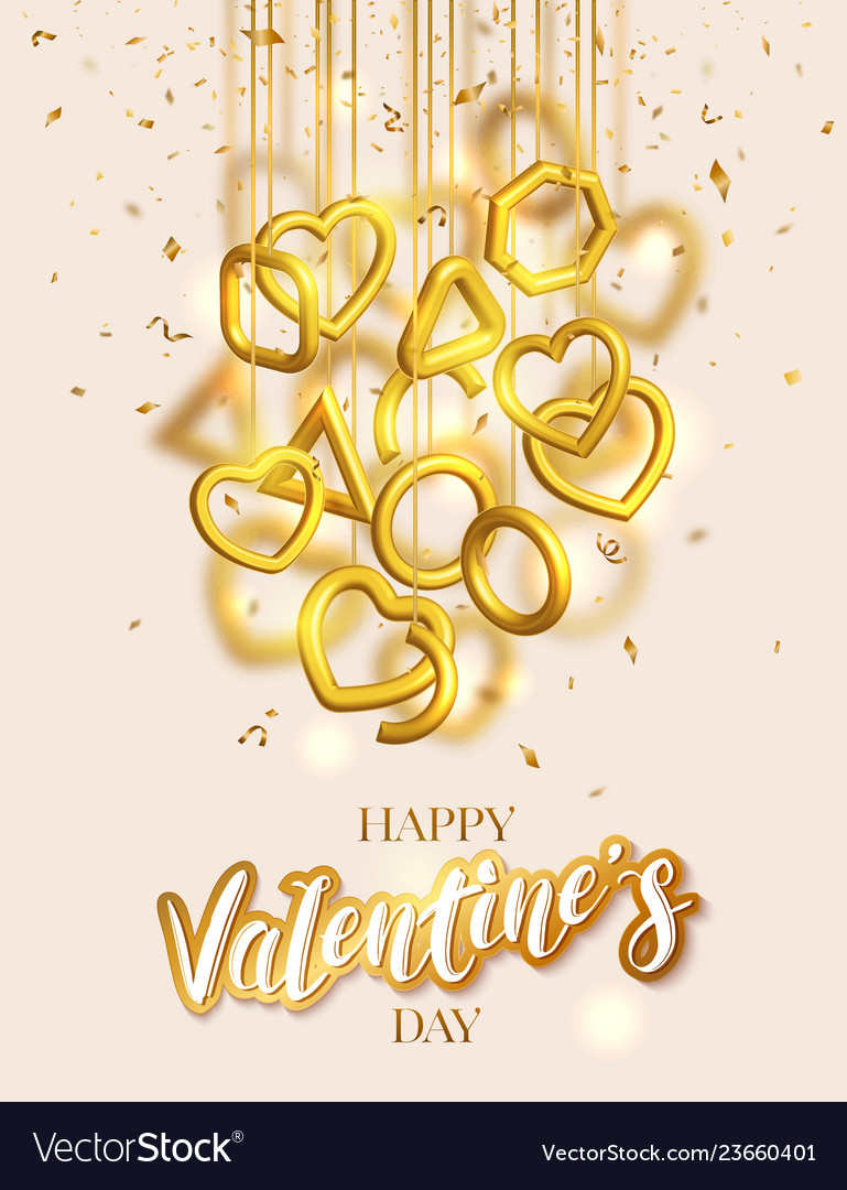 Valentines day greeting card design with hanging