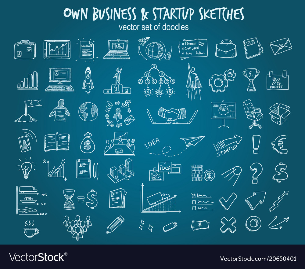 White hand drawn startup elements set vector
