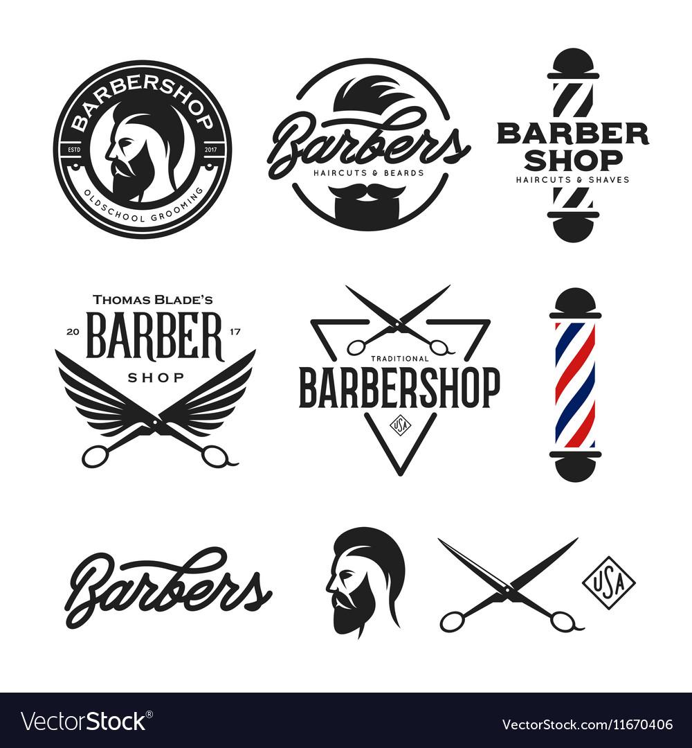 Barber shop badges set vintage vector image