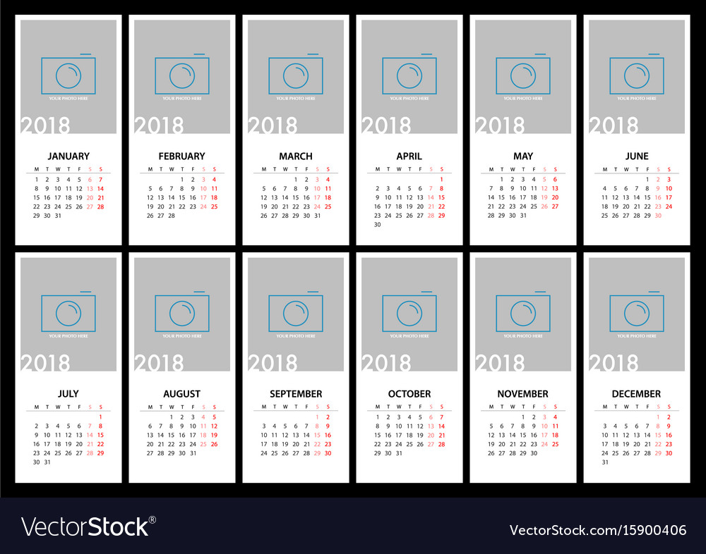 Calendar for 2018 template design vector image