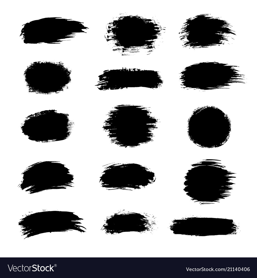 Collection of black paint ink brush strokes