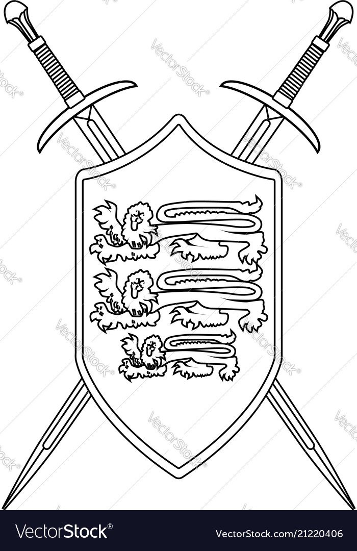 Crossed swords and shield outline