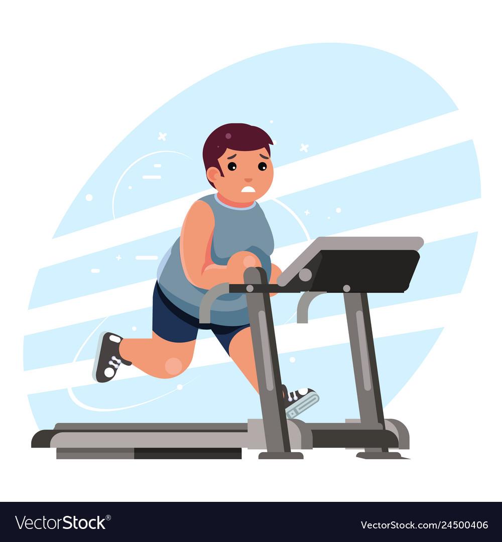 Fat man cardio running treadmill simulator fitness