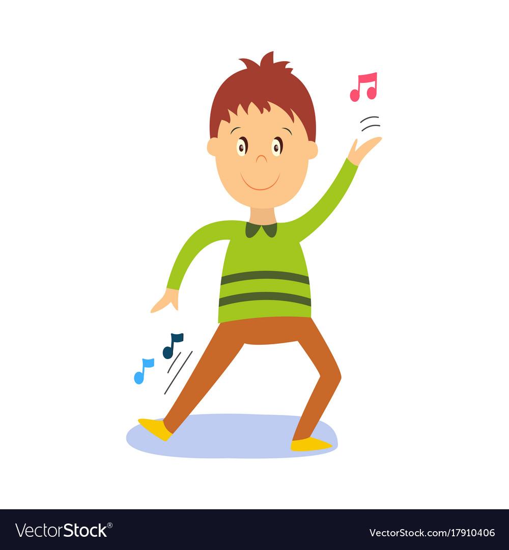 Flat Cartoon Boy Kid Dancing Isolated Royalty Free Vector - Cartoon-boy-images-free